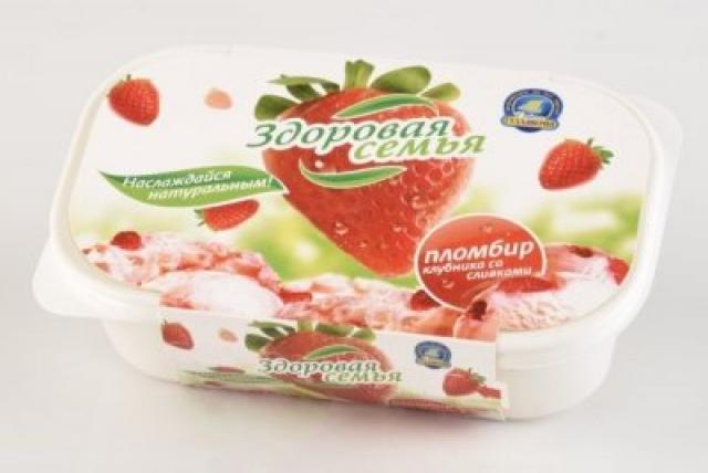 Биомороженое Здоровая семья ванночка Клубника со сливками 500г купить в Москве по цене от 0 рублей