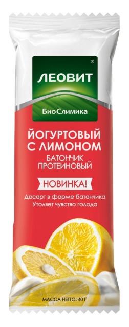 Леовит БиоСлимика батончик протеин. Йогурт/лимон 40г купить в Москве по цене от 53 рублей