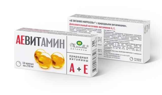 Аевит Мирролла с природными витаминами А и Е капсулы №10 купить в Москве по цене от 16 рублей