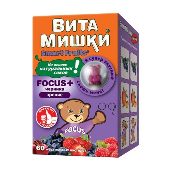 ВитаМишки ФОКУС+ жевательные паст. №60 купить в Москве по цене от 609 рублей