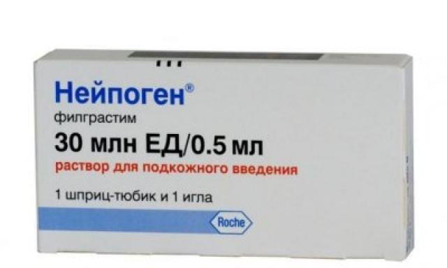 Нейпоген раствор подкожно 30млн ЕД 0,5мл шприц-тюбик №1 купить в Москве по цене от 2687.5 рублей