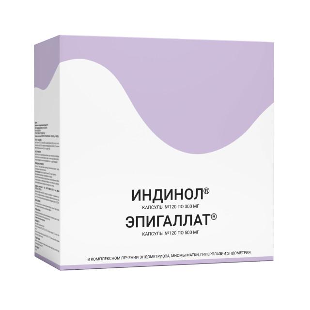 Индинол капсулы 300мг №120 + Эпигаллат капсулы 500мг №120 купить в Москве по цене от 3340 рублей
