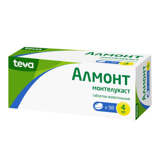 Алмонт таблетки жевательные 4мг №98 купить в Москве по цене от 2130 рублей