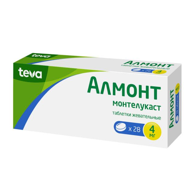 Алмонт таблетки жевательные 4мг №28 купить в Москве по цене от 802 рублей