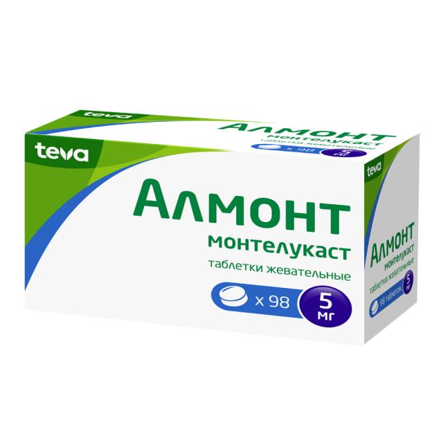Алмонт таблетки жевательные 5мг №98 купить в Москве по цене от 2430 рублей