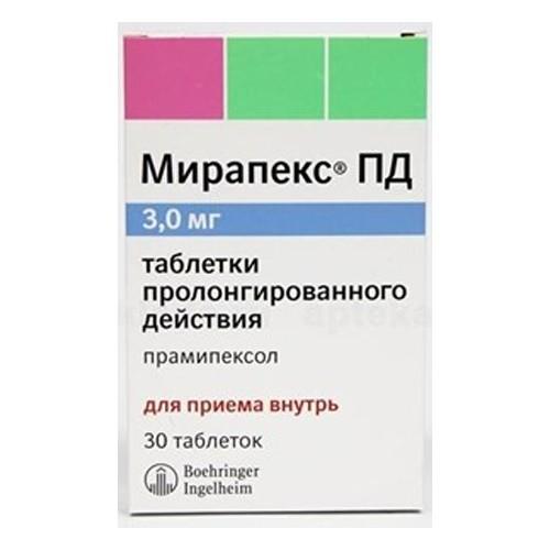 Мирапекс ПД таблетки пролонгированные 3мг №30 купить в Москве по цене от 2587 рублей