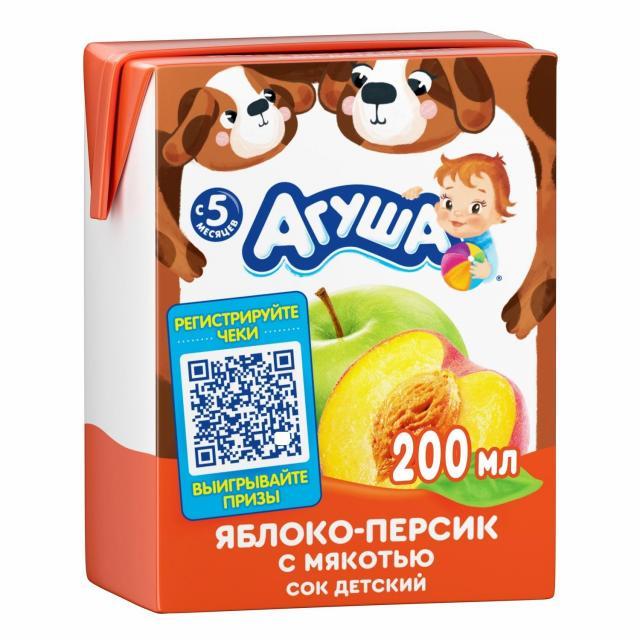 Агуша сок яблоко/персик с мяк. 200мл купить в Москве по цене от 0 рублей