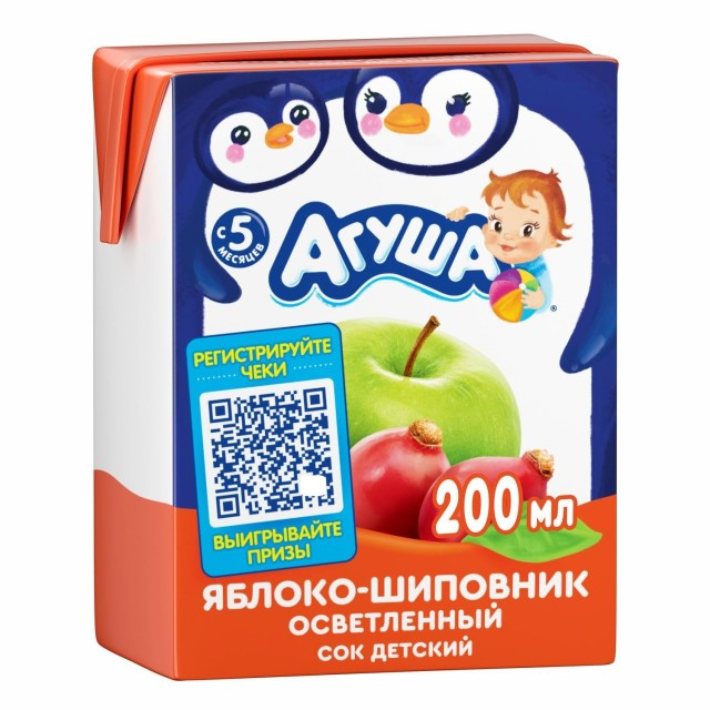 Агуша сок яблоко/шиповник осветл. 200мл купить в Москве по цене от 0 рублей