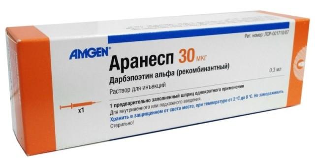 Аранесп раствор для инъекций 30мкг 0,3мл №1 купить в Москве по цене от 0 рублей