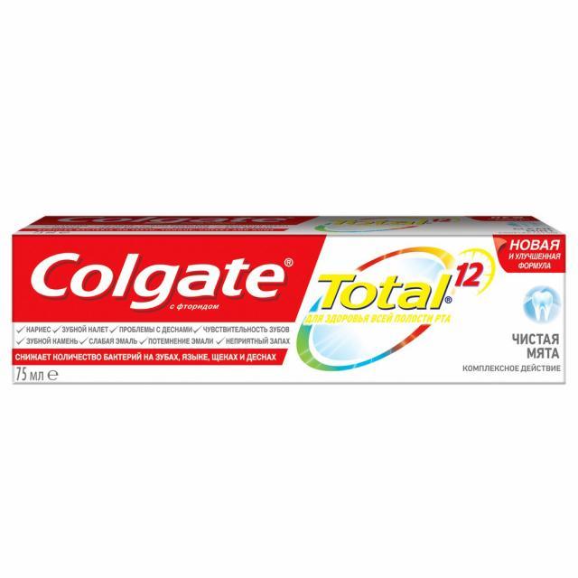 Колгейт зубная паста Тотал 12 Чистая мята 75мл купить в Москве по цене от 152 рублей