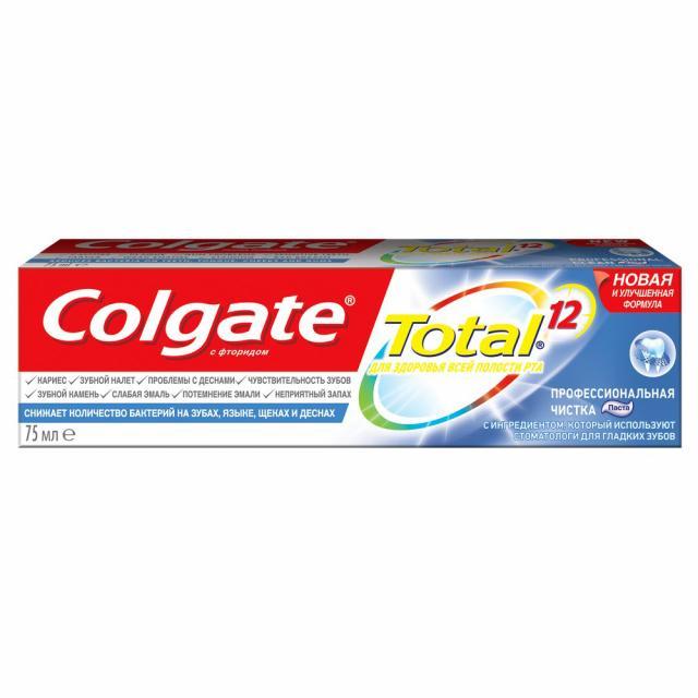 Колгейт зубная паста Тотал 12 Профессиональная чистка 75мл купить в Москве по цене от 155 рублей
