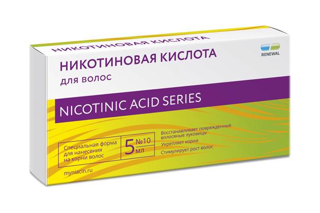 Никотиновая кислота для волос 10мг/мл 5мл №10 купить в Москве по цене от 232 рублей