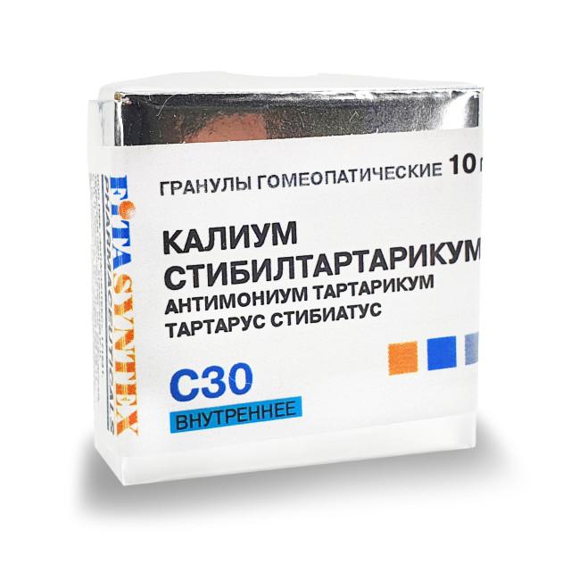 Калиум Стибилтартарикум С-30 гранулы 10г купить в Москве по цене от 191 рублей