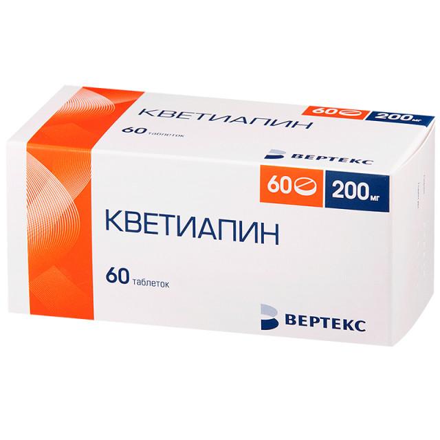 Кветиапин таблетки п.о 200мг №60 купить в Москве по цене от 2162.5 рублей
