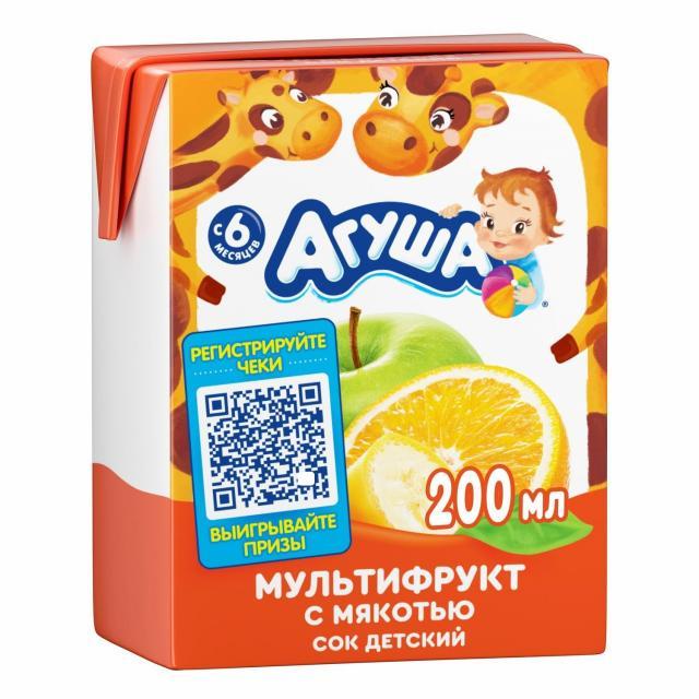 Агуша сок мультифрукт. 200мл купить в Москве по цене от 0 рублей