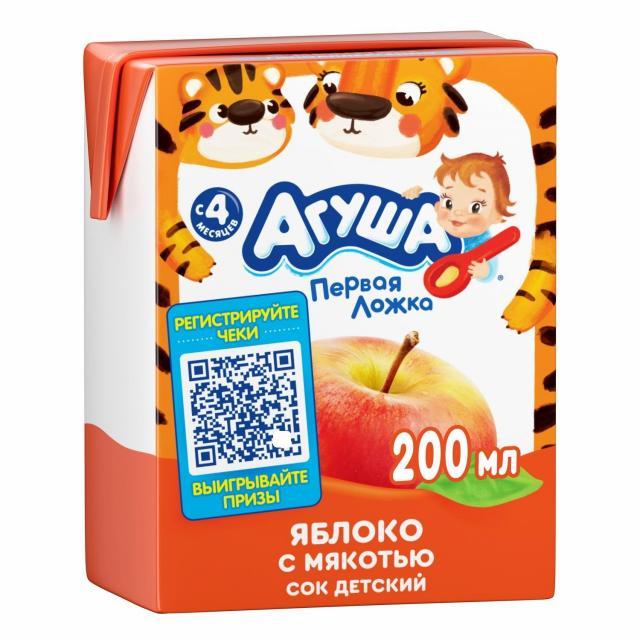 Агуша сок яблоко с мяк. 200мл купить в Москве по цене от 0 рублей