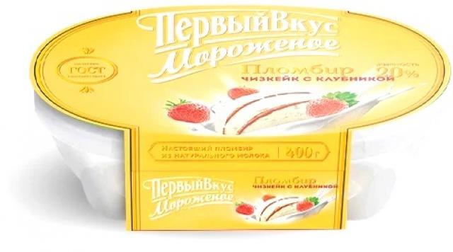 Биомороженое Первый вкус ванночка чизкейк с клубникой 400г купить в Москве по цене от 0 рублей