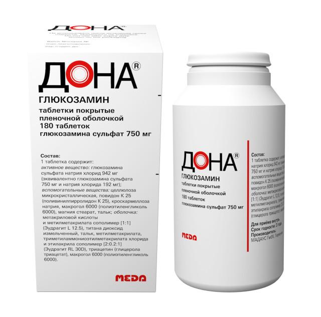 Дона таблетки 750мг №180 купить в Москве по цене от 2880 рублей