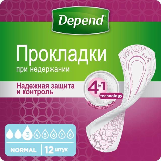 Депенд прокладки урологические для женщин нормал №12 купить в Москве по цене от 224 рублей