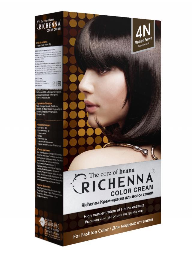 Риченна крем-краска для волос с хной т.4N купить в Москве по цене от 0 рублей
