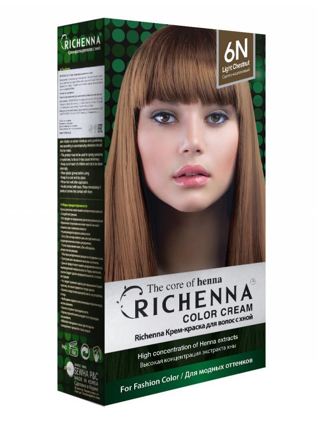 Риченна крем-краска для волос с хной т.6N купить в Москве по цене от 0 рублей