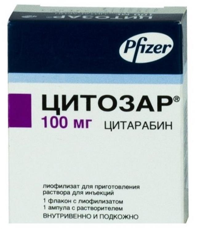 Цитозар лиофилизат для инъекций 100мг купить в Москве по цене от 247.5 рублей