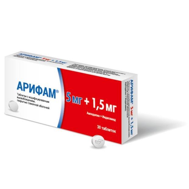 Арифам таблетки с модифицированным высвобождением 5мг +1,5мг №30 купить в Москве по цене от 441 рублей