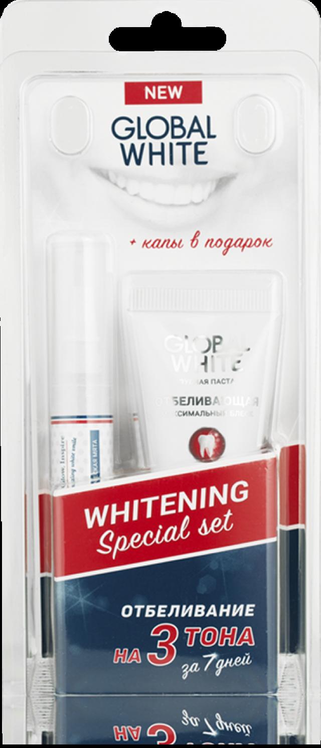 Глобал Вайт набор д/отбелив.зубов зубная паста 30мл+гель-карандаш 5мл+капа купить в Москве по цене от 1710 рублей