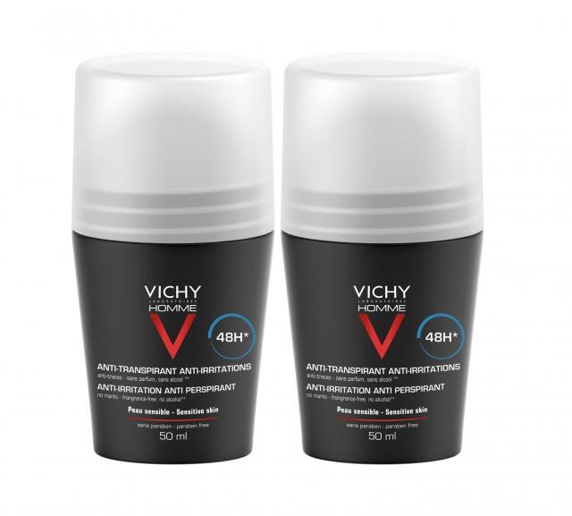 Виши набор Ом дезодорант-ролик для чувствительной кожи 48ч 50мл+дезодорант-ролик регулир. 48ч 50мл купить в Москве по цене от 1340 рублей