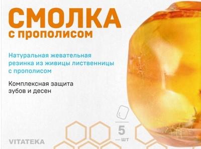 Витатека Жевательная смолка лиственничная 0,8г прополис №5 купить в Москве по цене от 51 рублей
