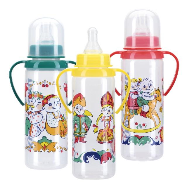 Курносики бутылочка с ручками 250мл+соска силикон 11113 купить в Москве по цене от 164 рублей