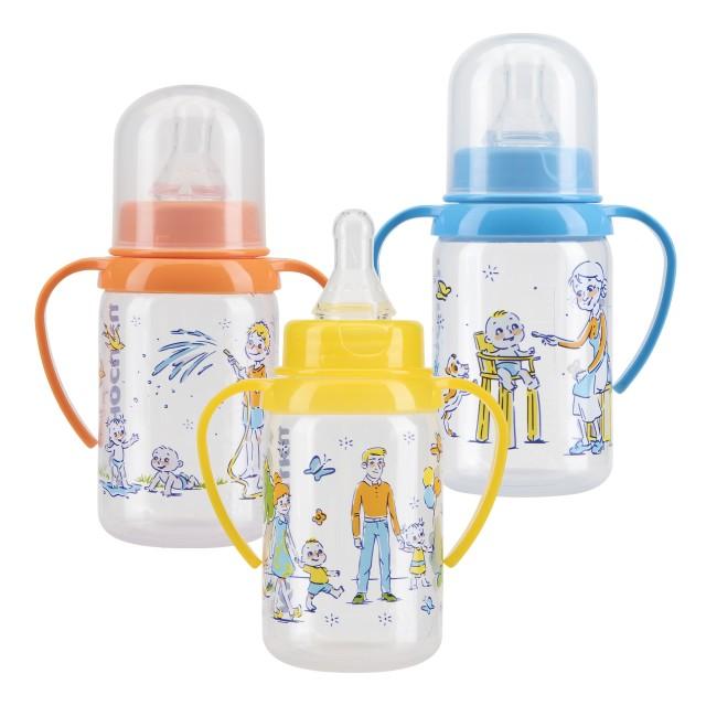 Курносики бутылочка с ручками 125мл+соска силикон 11140 купить в Москве по цене от 114 рублей