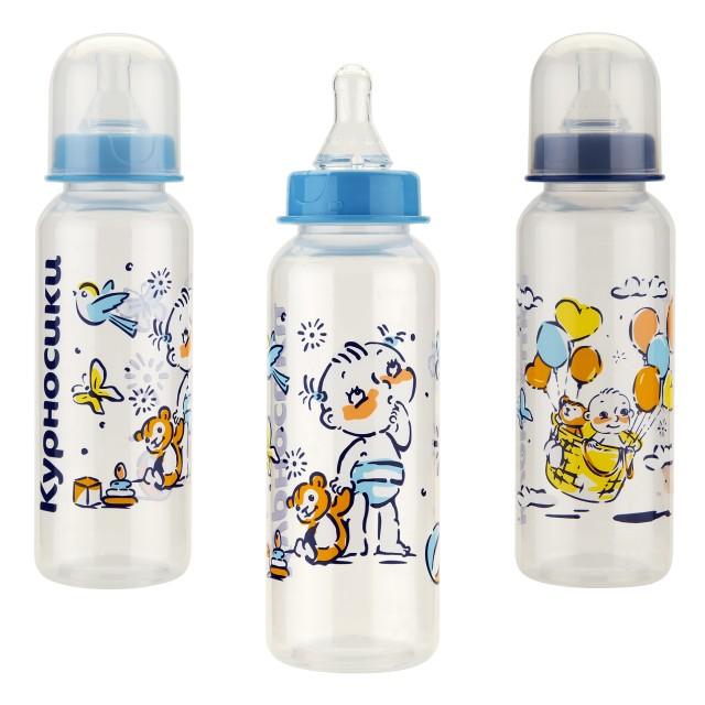 Курносики бутылочка 250мл+соска силикон 11141 купить в Москве по цене от 108 рублей