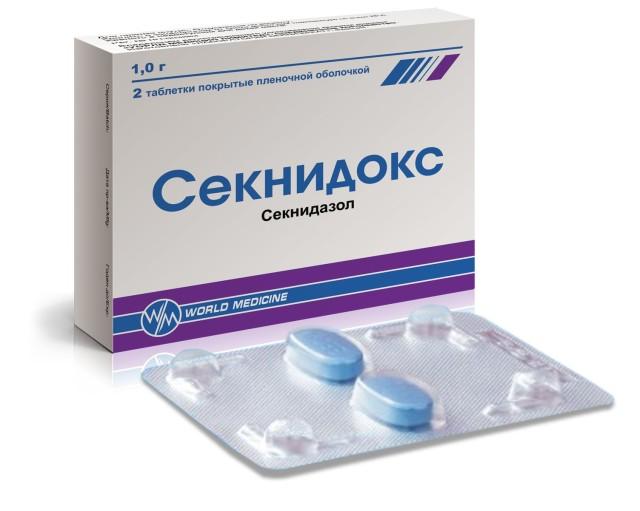 Секнидокс таблетки п.о. 1г №2 купить в Москве по цене от 448 рублей