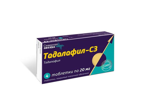Тадалафил-СЗ таблетки п.о 20мг №4 купить в Москве по цене от 354 рублей