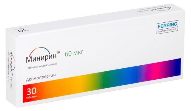 Минирин Мелт таблетки лиофилизат 60мкг №30 купить в Москве по цене от 1461.5 рублей