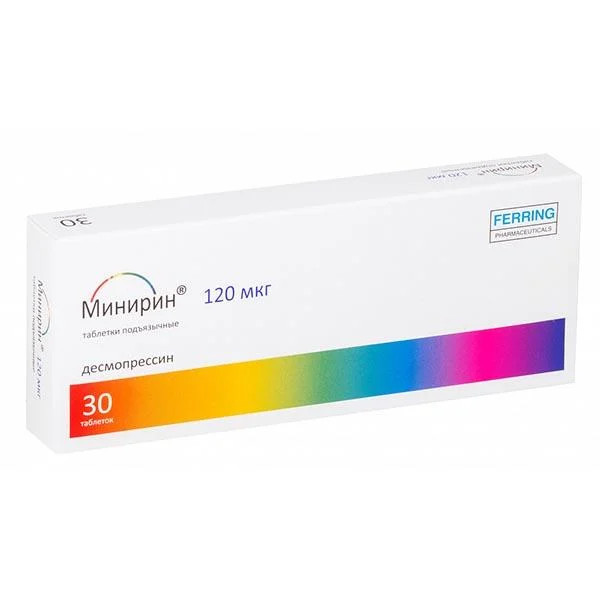 Минирин Мелт таблетки лиофилизат 120мкг №30 купить в Москве по цене от 2851.5 рублей