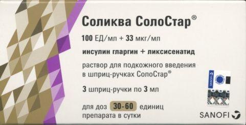 Соликва СолоСтар раствор подкожно 100МЕ+33мкг/мл 3мл шприц-ручка №3 купить в Москве по цене от 3750 рублей