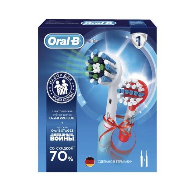 Орал Би набор зубная щетка электрическая Профешнл Кеа 500 т.3756+з/щетка электрическая Звездн.войны для детей D12.513К т.3709 купить в Москве по цене от 4470 рублей