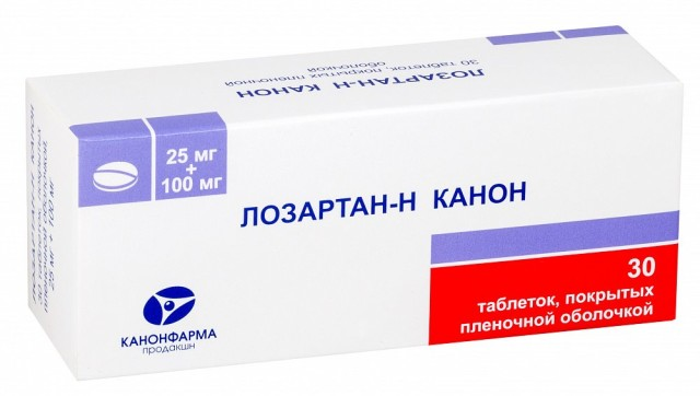 Лозартан-Н Канон таблетки п.о 25мг+100мг №30 купить в Москве по цене от 198 рублей