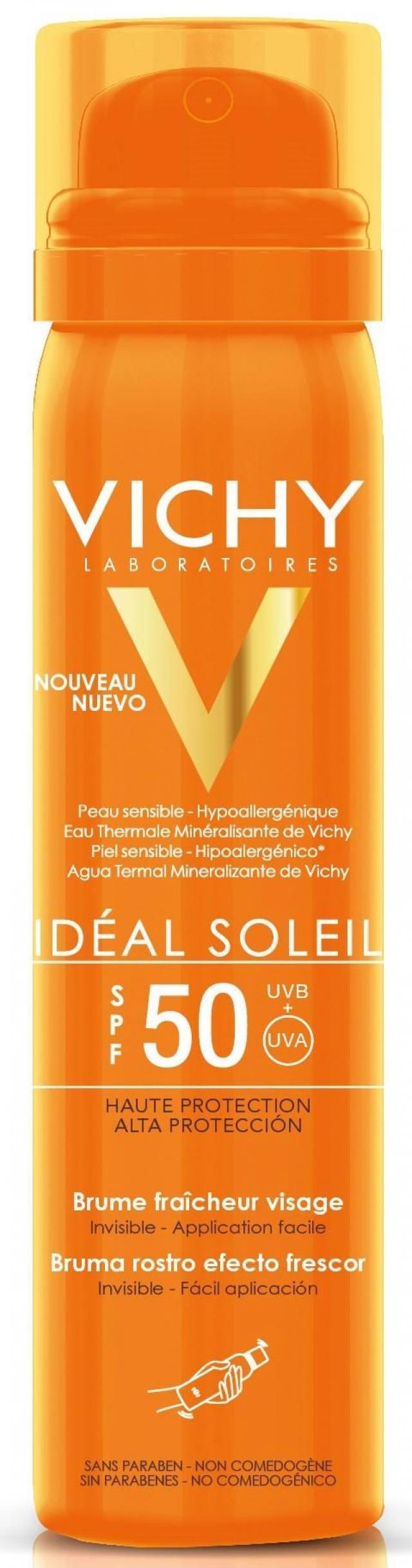 Виши Идеал Солей спрей-вуаль солнцезащитный для лица SPF50 75мл купить в Москве по цене от 895 рублей