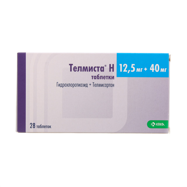 Телмиста Н таблетки 40мг+12,5мг №28 купить в Москве по цене от 338 рублей