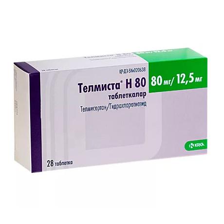 Телмиста Н таблетки 80мг+12,5мг №84 купить в Москве по цене от 986 рублей