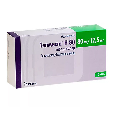 Телмиста Н таблетки 80мг+12,5мг №28 купить в Москве по цене от 451 рублей