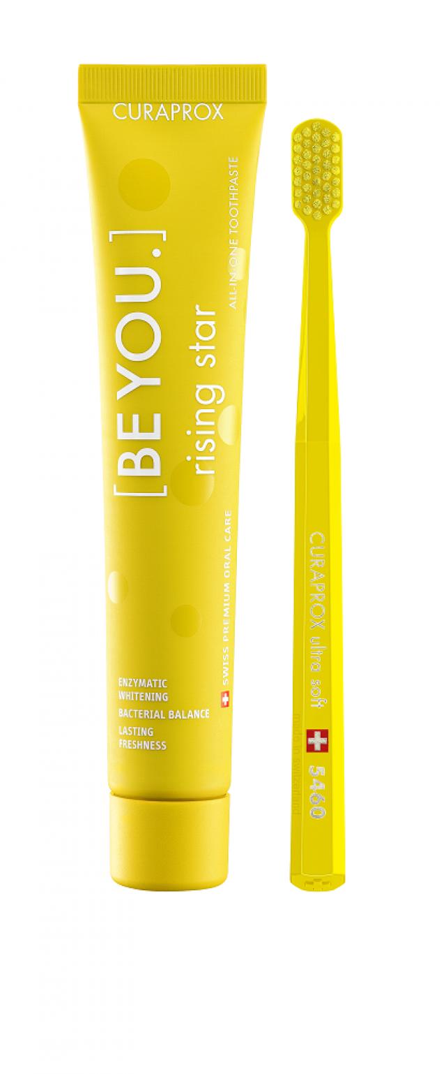 Курапрокс набор зубная паста грейпфрут/бергамот 90мл+з/щетка Ультрасофт Be You Yellow set купить в Москве по цене от 2410 рублей
