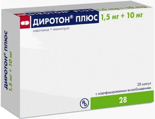 Диротон Плюс капсулы 1,5мг+10мг №28 купить в Москве по цене от 292 рублей