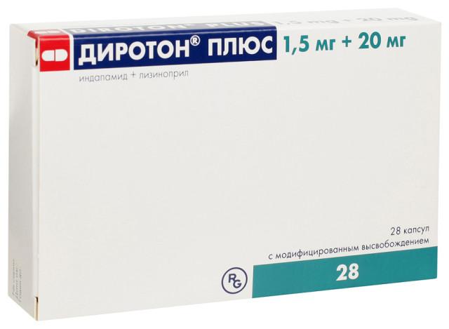 Диротон Плюс капсулы 1,5мг+20мг №28 купить в Москве по цене от 439 рублей