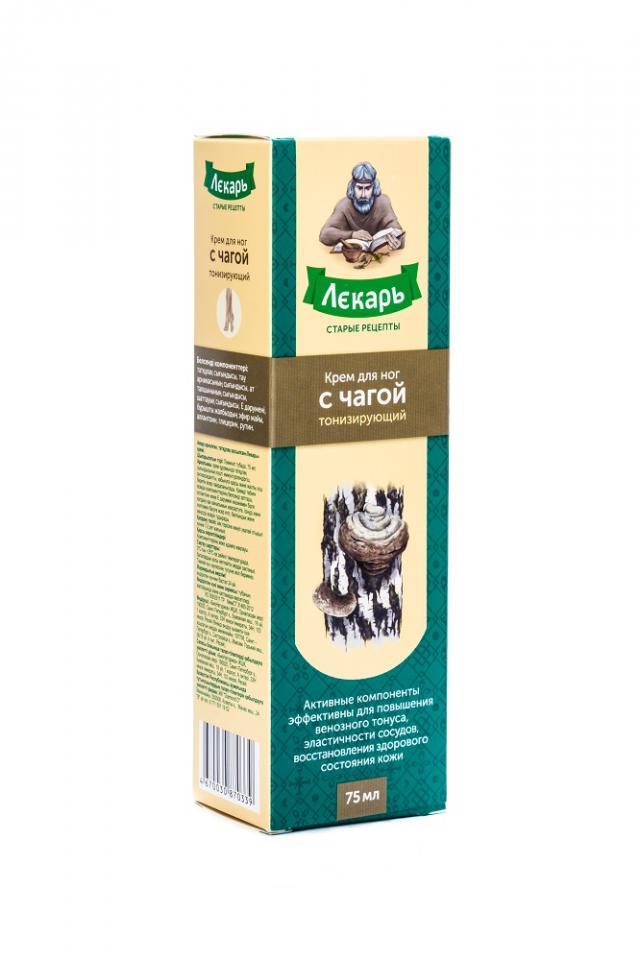Лекарь крем для ног тониз. Чага 75мл купить в Москве по цене от 164 рублей