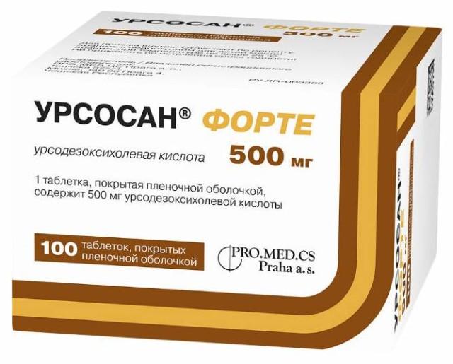 Урсосан Форте таблетки п.о. 500мг №100 купить в Москве по цене от 3012.5 рублей