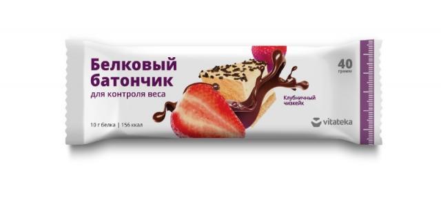 Витатека батончик белков. клубничн. чизкейк 40г купить в Москве по цене от 65 рублей